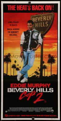 3c241 BEVERLY HILLS COP II Aust daybill 1987 Eddie Murphy as Axel Foley, where he doesn't belong!