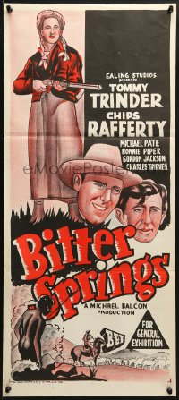 3c242 BITTER SPRINGS Aust daybill 1950 Australian western starring Chips Rafferty, cool art!