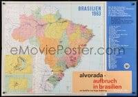 3c585 ALVORADA - BRAZIL'S CHANGING FACE German 33x47 1962 cool map of South America!