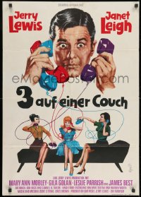 3c671 3 ON A COUCH German 1966 great image of screwy Jerry Lewis with three telephones!