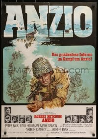3c684 ANZIO German 1968 different art of Robert Mitchum, Peter Falk, & others in World War II!
