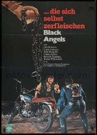 3c698 BLACK ANGELS German 1972 God forgives, but these crazed bikers don't, cool motorcycle image!