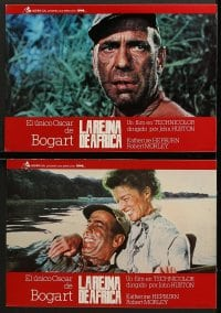 3c030 AFRICAN QUEEN 12 Spanish LCs R1980 great images of Humphrey Bogart & Katharine Hepburn!
