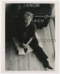 3d837 GWEN VERDON signed 8x10 REPRO still 1980s great overhead portrait leaning against trunk!