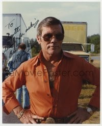 3d838 HAL NEEDHAM signed color 8x10 REPRO still 1980s great close up of the Hollywood stuntman!