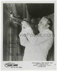 3d517 HARRY JAMES signed 8x10 music publicity still 1970s the band leader playing his trumpet!