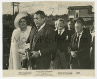 3d522 INGRID BERGMAN signed 7.75x9.5 still 1964 with Anthony Quinn & co-stars in The Visit!