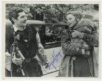 3d523 INGRID BERGMAN signed 8x10 still 1965 with Omar Sharif by car in The Yellow Rolls-Royce!