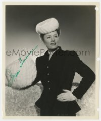 3d524 IRENE DUNNE signed 8.25x10 still 1944 Viers portrait with fur hat & muff from Together Again!