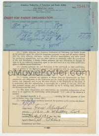3d209 JACK MULHALL signed contract 1956 joining American Federation of Television & Radio Artists!