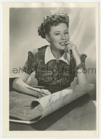 3d252 IRENE DUNNE signed deluxe 5x7 fan photo 1930s great portrait with blueprints & matching shirt!