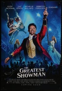 3d010 GREATEST SHOWMAN signed style B int'l advance DS 1sh 2017 by Hugh Jackman, as P.T. Barnum!