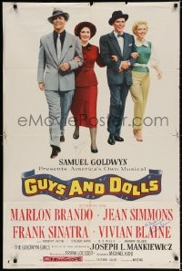 3d129 GUYS & DOLLS signed 1sh 1955 by BOTH Jean Simmons AND Vivian Blaine, with Brando & Sinatra!