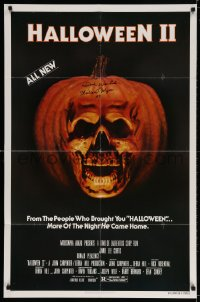 3d130 HALLOWEEN II signed 1sh 1981 by Dick Warlock, who played Michael Myers, jack-o-lantern skull!