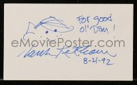 3d337 HANK KETCHAM signed 3x5 index card 1992 includes a Dennis the Menace comic to frame with!