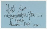 3d346 HOWARD DUFF signed 3x5 index card 1980 it can be framed & displayed with a repro!