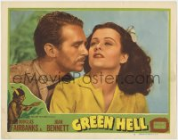 3d142 GREEN HELL signed LC #7 R1947 by Douglas Fairbanks Jr., who's close up with Joan Bennett!