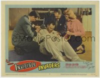 3d145 INVISIBLE INVADERS signed LC #3 1959 by John Agar, who's crazy & wearing a straitjacket!