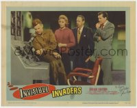 3d146 INVISIBLE INVADERS signed LC #5 1959 by John Agar, who's with others by control panel!
