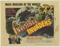 3d147 INVISIBLE INVADERS signed TC 1959 by John Agar, an unearthly enemy defying modern science!
