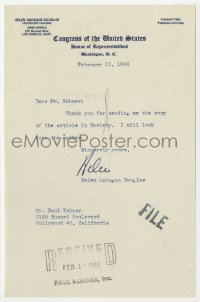 3d218 HELEN GAHAGAN signed letter 1946 when she was a member of Congress on her stationery!