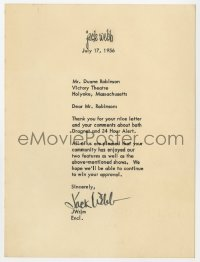 3d220 JACK WEBB signed letter 1956 on his stationary, thanking a fan for his nice letter!