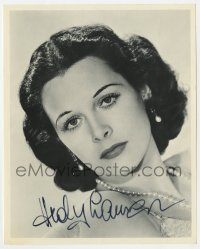 3d839 HEDY LAMARR signed 8x10 REPRO still 1990s portrait with pearl necklace & earrings!