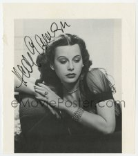 3d194 HEDY LAMARR signed 9x10 cut book page 1990 close portrait of the beautiful leading lady!
