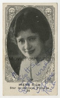 3d409 IRENE RICH signed 2x3 cigarette card 1920s great smiling portrait, Star in Goldwyn Pictures!
