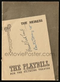 3d122 HEIRESS signed playbill 1947 by BOTH Basil Rathbone AND Beatrice Straight!