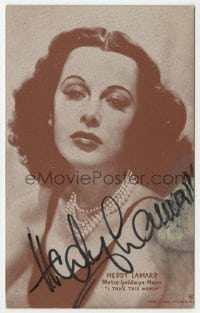 3d297 HEDY LAMARR signed 4x6 postcard 1939 great portrait when she made I Take This Woman!