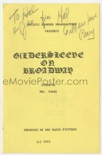 3d103 HAROLD PEARY signed program 1943 when he was starring in Gildersleeve on Broadway!