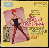 3d051 GWEN VERDON signed 2x5 cut magazine page 1980s glued to 1958 Damn Yankees soundtrack record!