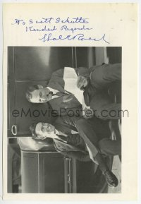 3d717 HAL ROACH signed 6x8 cut book page 1970s great image of the legendary film producer!