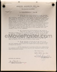 3d208 HERMAN J. MANKIEWICZ signed contract 1941 paid $1,500 a week to write Pride of the Yankees!
