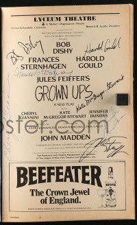 3d121 GROWN UPS signed playbill 1981 by Bob Dishy, Frances Sternhagen, Harold Gould + 4 more!