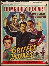3f325 ACROSS THE PACIFIC Belgian R1950s art of Humphrey Bogart, Mary Astor & Victor Sen Yung!