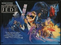 3f211 RETURN OF THE JEDI British quad 1983 George Lucas' classic, action artwork by Josh Kirby!