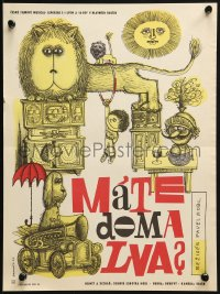 3f299 MATE DOMA LVA Czech 11x15 1966 do you have a lion at home, great feline art by Jan Brychta!