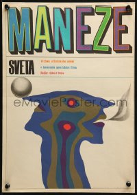 3f308 RINGS AROUND THE WORLD Czech 12x16 1966 Don Ameche, bizarre Kaplan art of circus act!