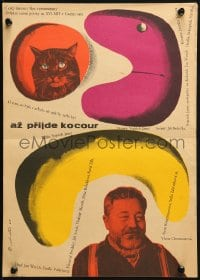 3f319 WHEN THE CAT COMES Czech 12x17 1963 cat wears glasses to block its special powers, Tomanek!