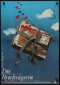 3f501 YOU YUAN East German 23x32 1985 cool art of package of letters in sky with hearts by Claus!