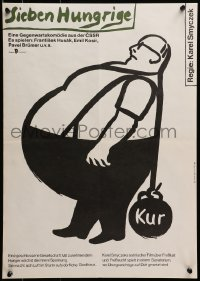 3f524 SEDM HLADOVYCH East German 16x23 1989 wacky Gernot Brandt art of man with ball & chain!