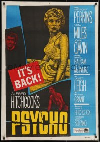 3f024 PSYCHO Egyptian poster R1960s Janet Leigh, Anthony Perkins, Alfred Hitchcock classic!