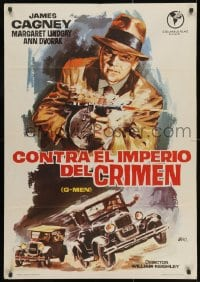 3f075 G-MEN Spanish R1965 great different Jano art of James Cagney with Tommy gun!