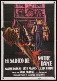 3f080 SADIST OF NOTRE DAME Spanish 1981 poster design uses hand & knife from Halloween poster!