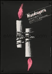 3f323 MANDRAGORA signed 26x37 Czech stage poster 1992 by Karel Misek, tied-up candles!