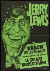 3f055 AT WAR WITH THE ARMY Swiss R1960s completely different green art of wacky Jerry Lewis!