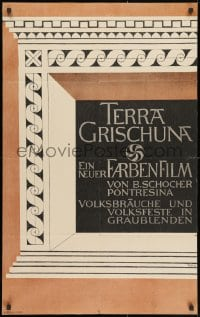 3f067 TERRA GRISCHUNA Swiss 1941 cool Walter Kach design for obscure documentary!