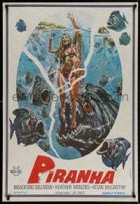 3f032 PIRANHA Turkish 1981 Roger Corman, great art of man-eating fish & sexy girl by Over!